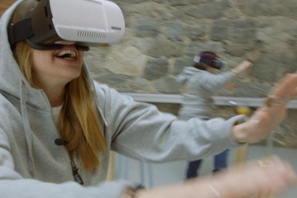 Woman having fun with virtual reality