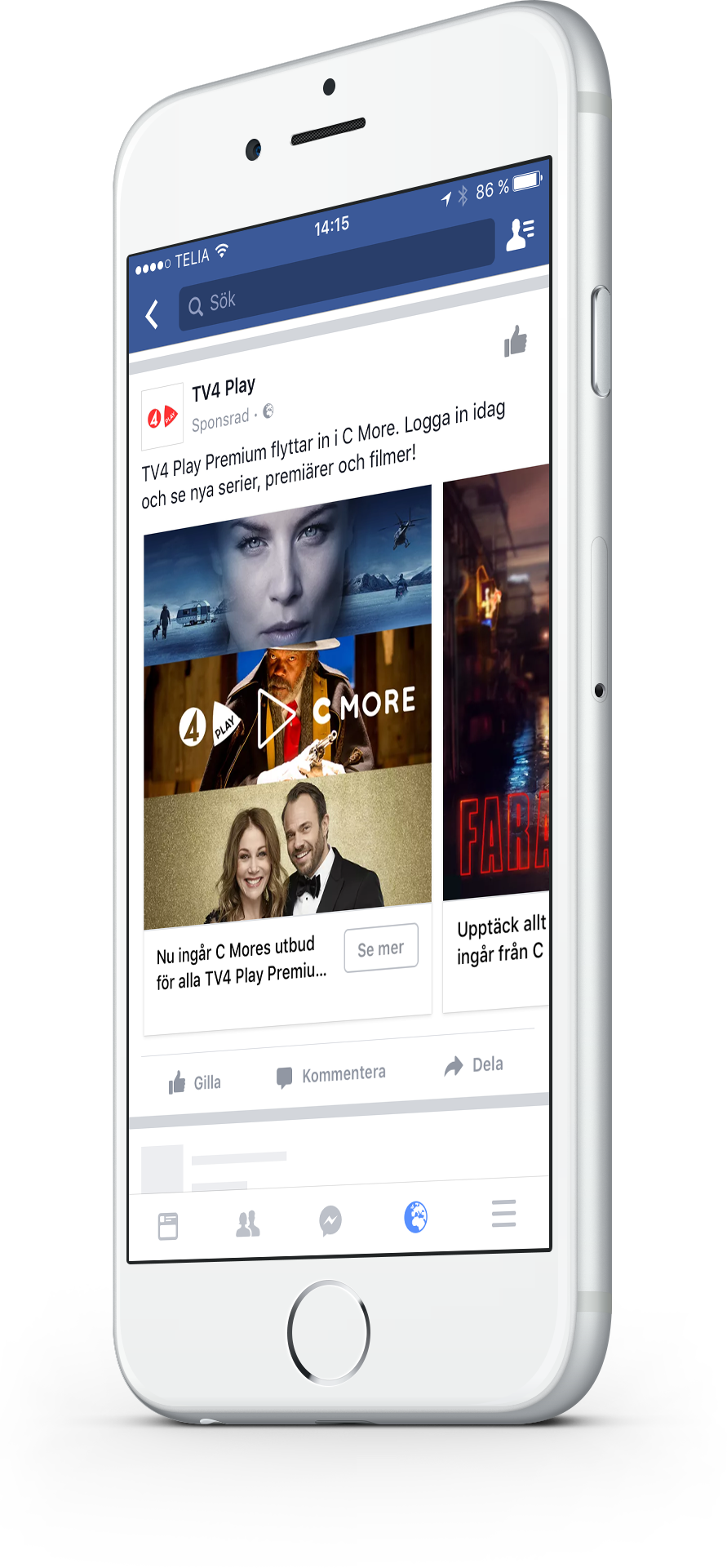 cellphone screen showing tv4 play facebook post