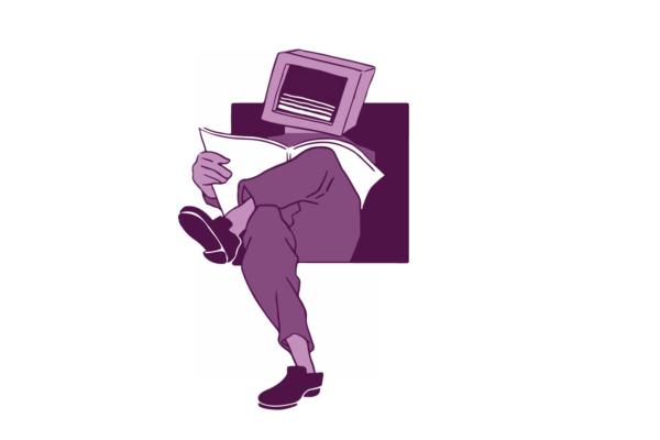 Screen man reading paper illustration